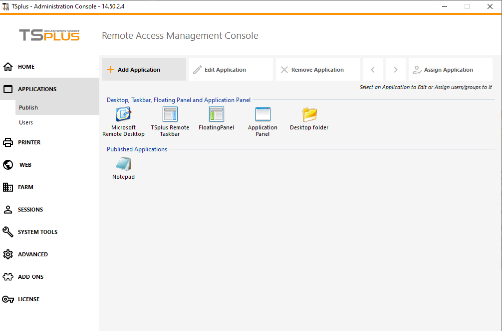 TSplus screenshot - App publishing