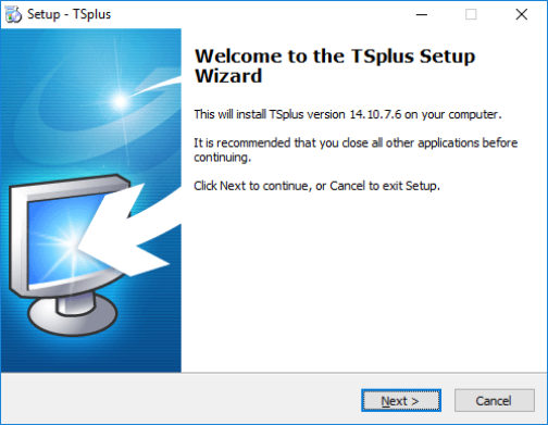 TSplus setup - screenshot